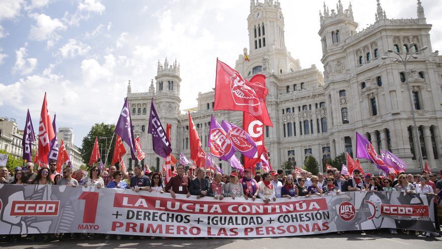 Cabecera de la manifestación frente al Ayuntamiento de Madrid