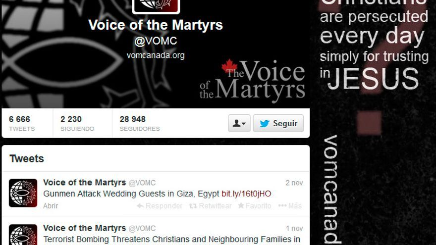 Captura de pantalla del Twitter de 'Voice of the Martyrs'