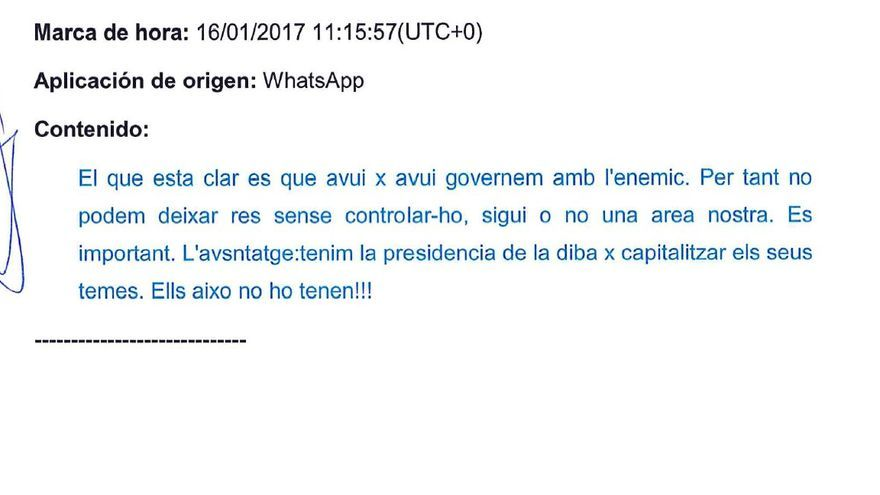 Whatsapp de Budó recuperado por la Guardia Civil