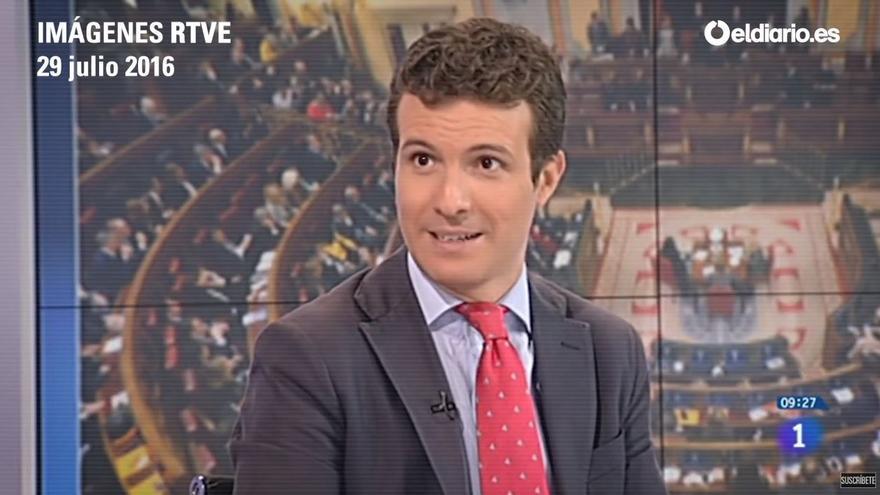 Pablo Casado, en una entrevista en TVE en 2016