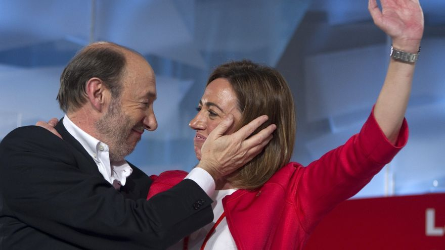 Alfredo Pérez Rubalcaba y Carme Chacón durante el Congreso del PSOE en el que Rubalcaba fue elegido secretario general
