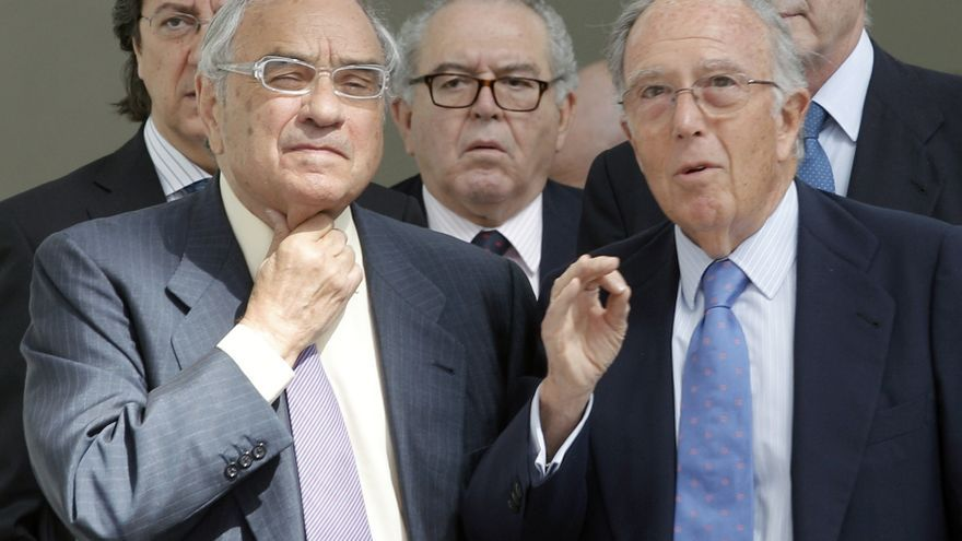 Los exministros Pío Cabanillas, Martín Villa, Eduardo Serra y Marcelino Oreja. Efe / Juan Carlos Cárdenas