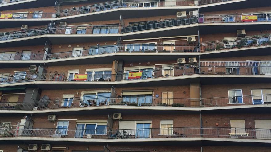 Vista de una fachada de un edificio en Madrid.
