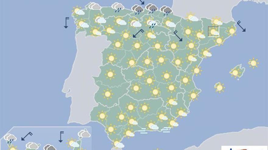 Mañana, despejado en casi toda España y ascenso térmico en el sur peninsular