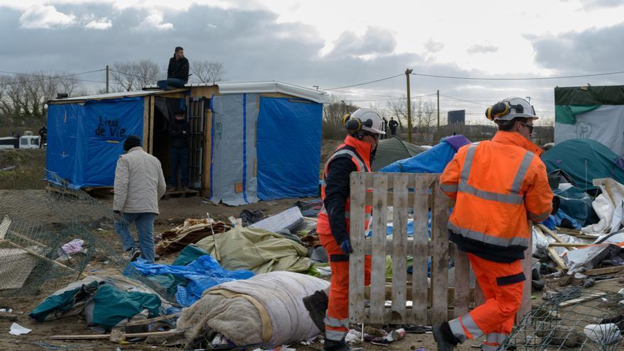Campamento de refugiados en Calais.