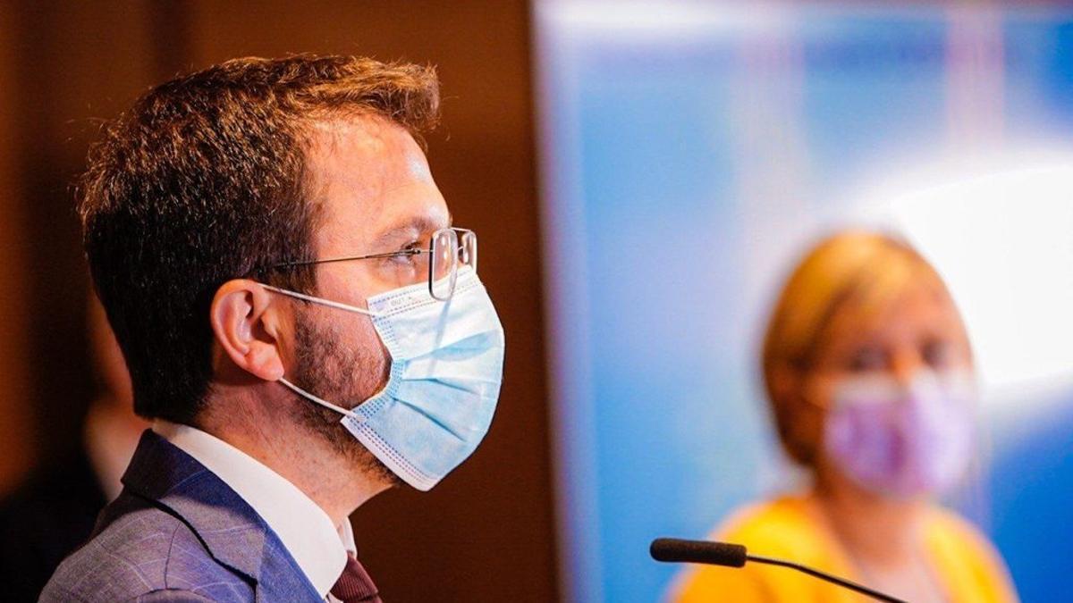 El vicepresidente de la Generalitat en funciones, Pere Aragonès, en la rueda de prensa de presentación de la campaña masiva de vacunación