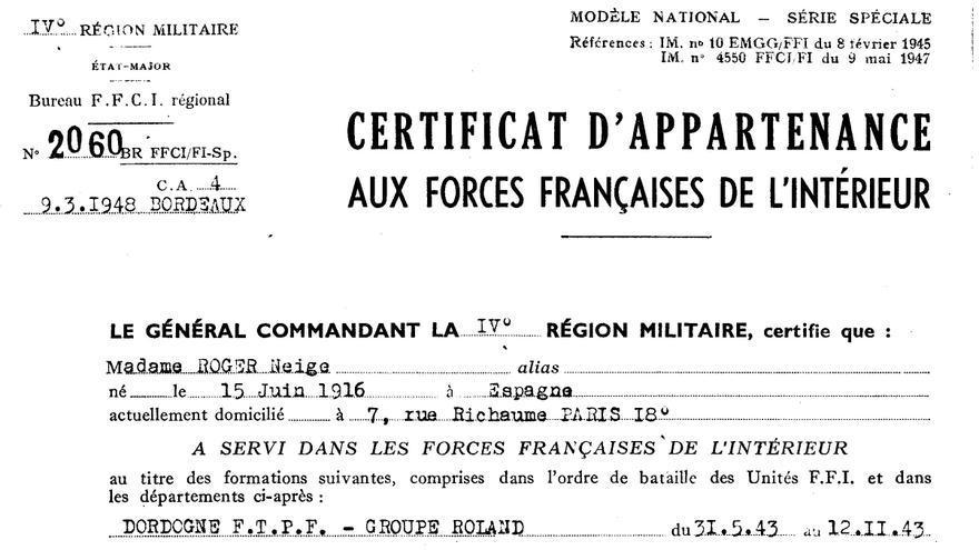 Certificado de deportación de Neus Català.