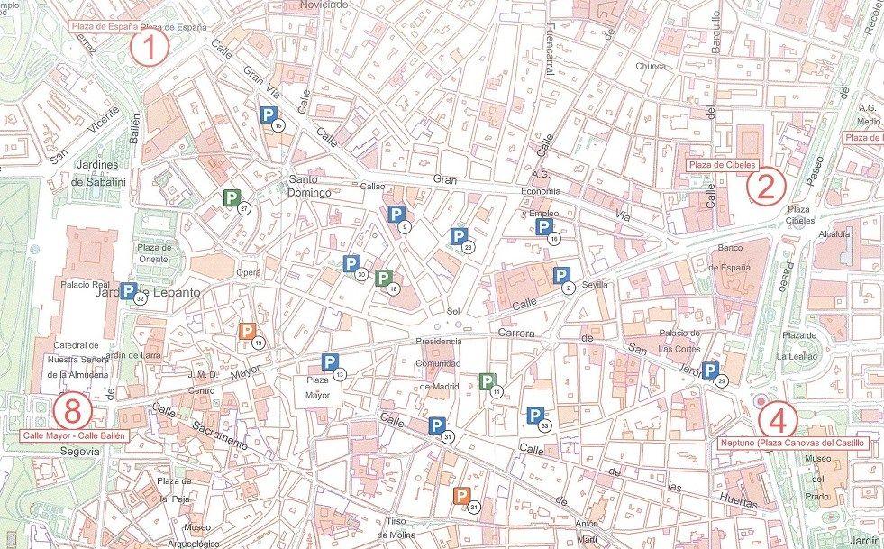 Puntos de control del acceso a Gran Vía y la zona centro | AYUNTAMIENTO DE MADRID