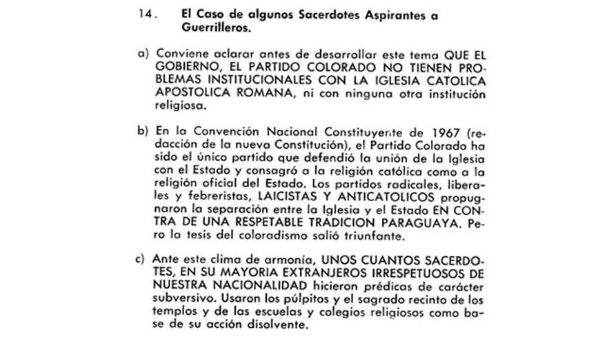 Punto 14 de la 'Principios y Métodos para combatir el Comunismo' de la dictadura paraguaya