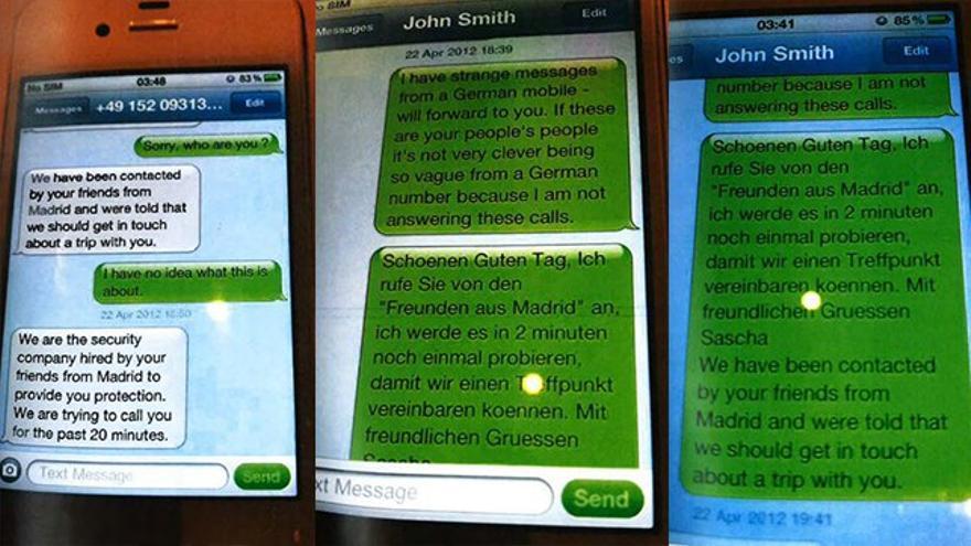 Mensajes de Corinna Larsen a John Smith, el seudónimo que utilizaba supuestamente para Juan Carlos I