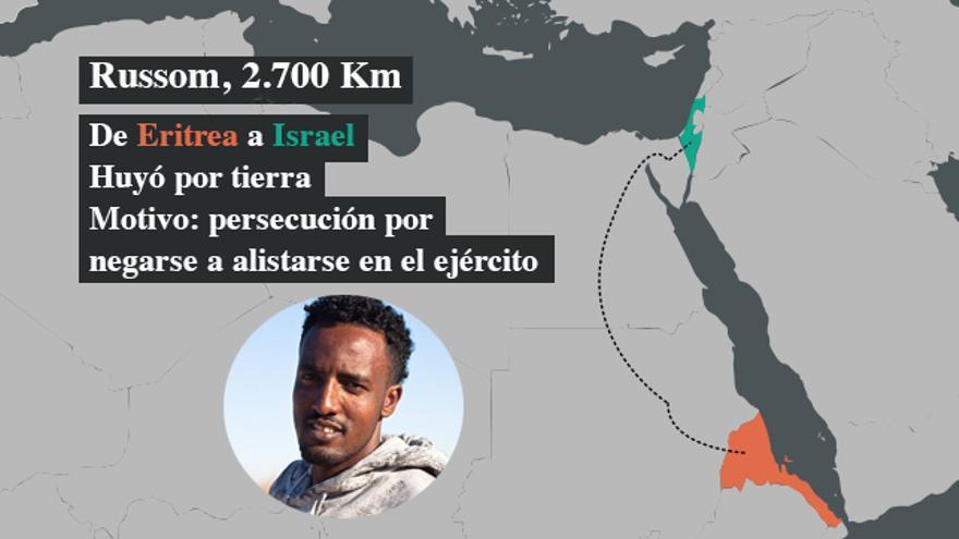 Russom huyó de Eritrea a Israel porque sufría persecución por haberse negado a alistarse en el ejército. Antes de llegar estuvo un año secuestrado en un campo de tortura en el Sinaí. | FOTO: Isabel Cadenas Cañón