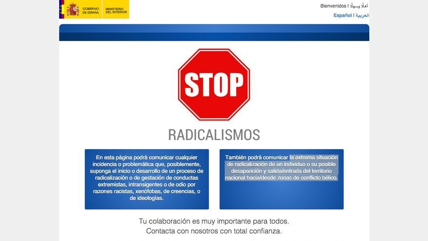 Web policia stop radicalismos