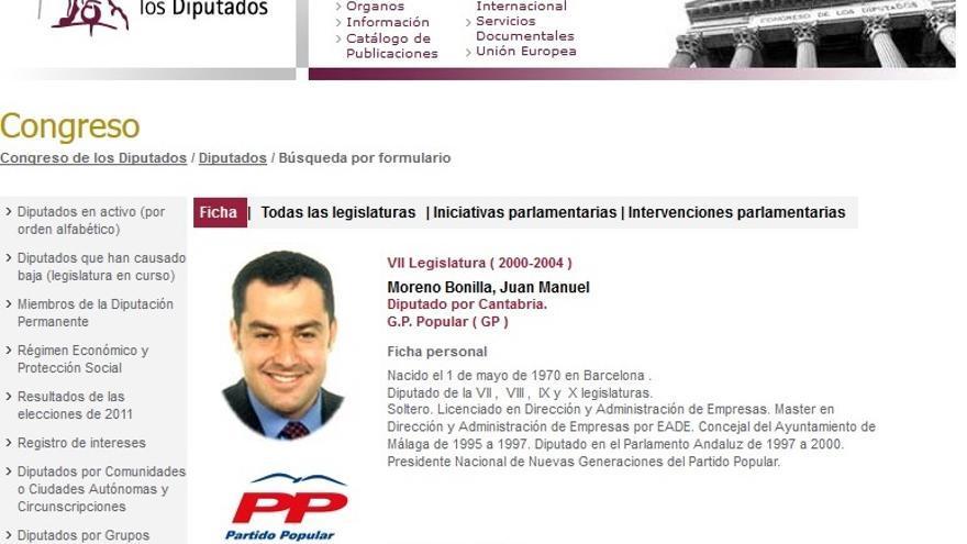 Curriculum oficial del Congreso de los Diputados de Juan Manuel Moreno Bonilla (2000-2004)