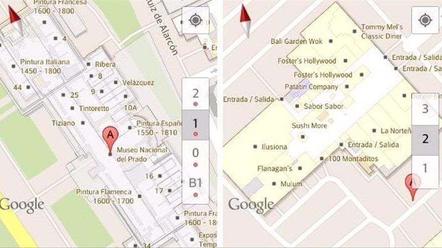 El plano del Museo del Prado, en Madrid, y el centro comercial Equinoccio, a las afueras de la capital
