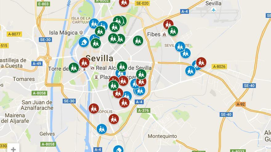 Mapa de las inversiones en colegios públicos de Sevilla en 2016.