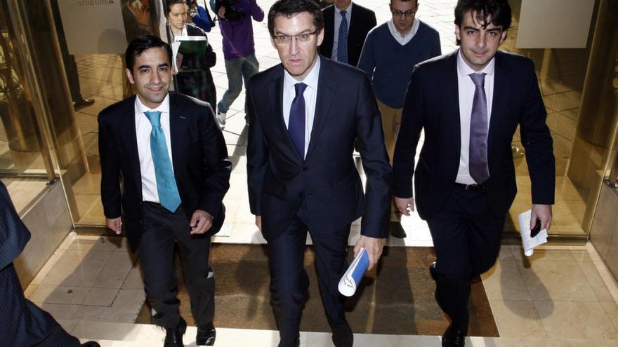 Feijóo, con Rey Varela (izquierda) y Calvo, en una imagen de archivo