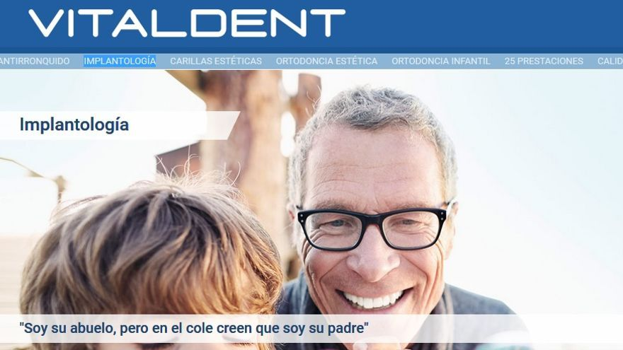 Captura de pantalla de la Web general de las clínicas Vitaldent