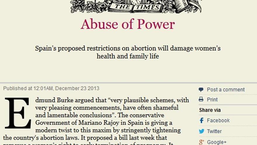 Editorial del Times sobre la reforma de la ley del aborto de Gallardon.