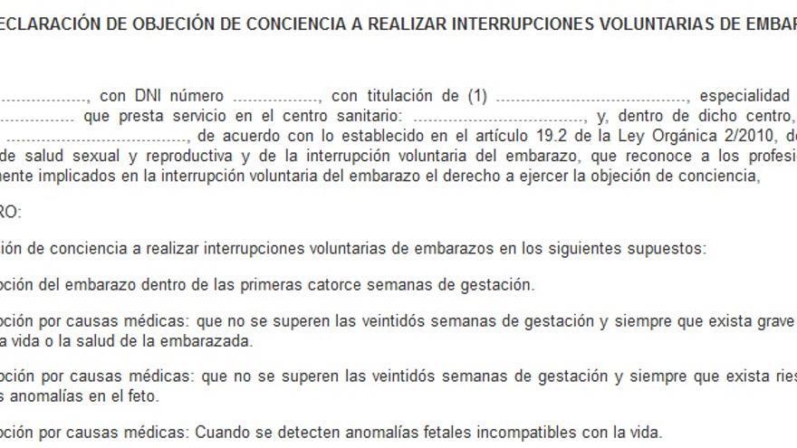 Un extracto de la declaración de objeción de conciencia incluida en la ley que creó el registro.