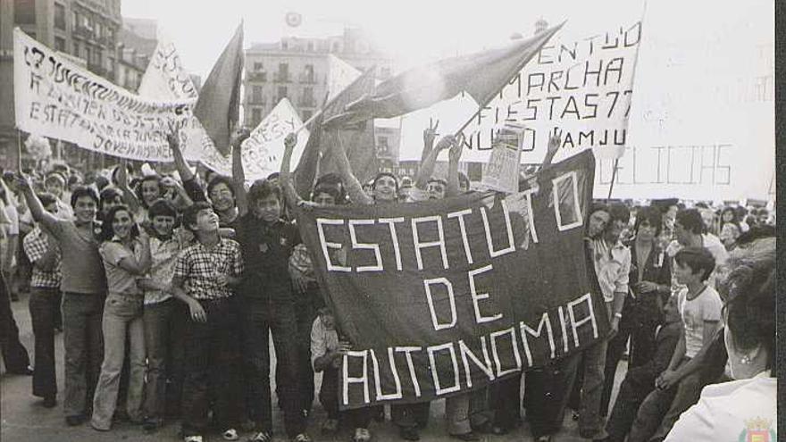 Manifestación en Valladolid en 1977.