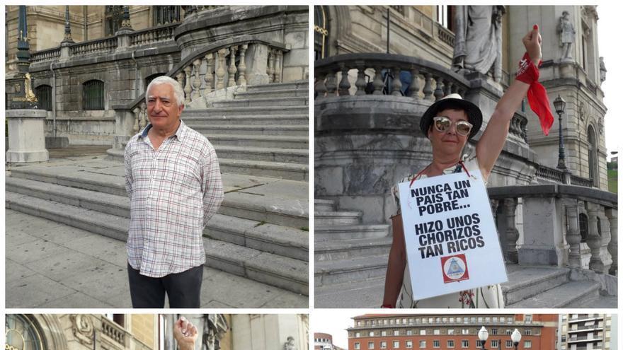 Carlos, María Luisa, Merche y Roque, durante la concentración por unas pensiones dignas en Bilbao