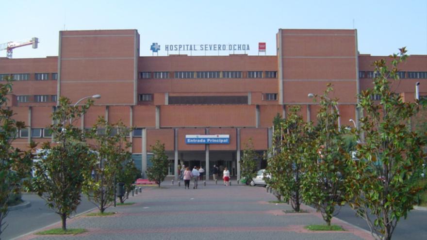 Entrada del Hospital Universitario Severo Ochoa en Leganés (Madrid)