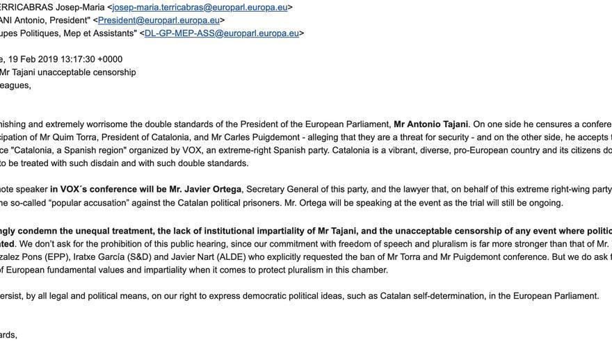 """ERC y PDeCAT escriben al presidente de la Eurocámara para denunciar su """"falta de imparcialidad"""" por permitir el acto de Vox tras el veto a Puigdemont"""