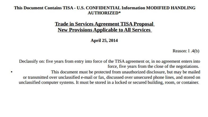 Primera página del borrador con las propuestas de EEUU en las negociaciones del TISA.
