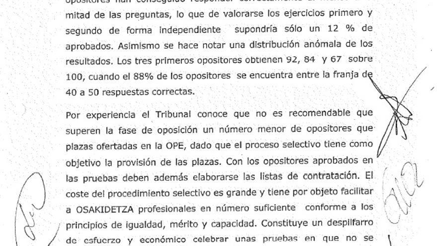 Acta de la oposición de Anestesia del Servicio Vasco de Salud (Osakidetza)