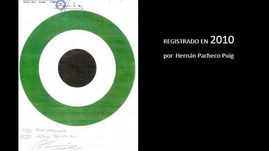 Documento que acredita el registro de la creación por parte de los hermanos Pacheco, y que irá como prueba en la querella contra el PP de Extremadura