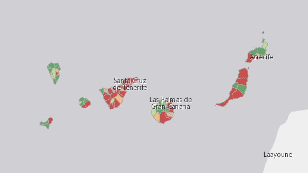 Mapa de la incidencia en los últimos siete días en Canarias
