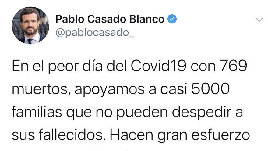 Tuit del presidente del Partido Popular, Pablo