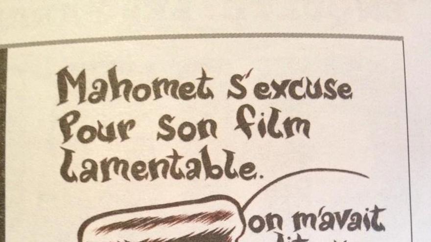 Caricatura de Mahoma aparecida en Charlie Hebdo.