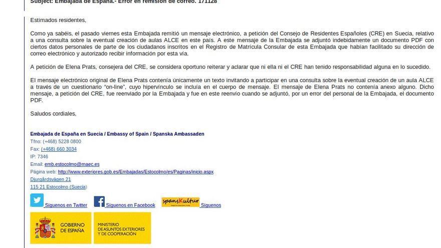 Captura del último correo enviado por la Embajada española en Suecia donde explica lo sucedido en torno a la filtración.