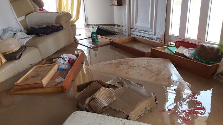 La casa de Santiago Pérez, anegada por las últimas lluvias