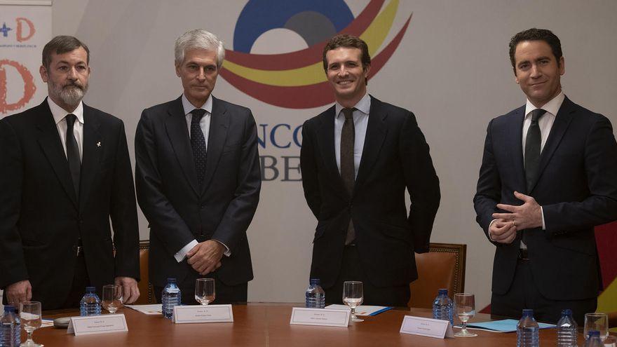 Suárez Illana, Casado y García Egea, en octubre de 2018, durante la presentación de la Fundación Concordia y Libertad.
