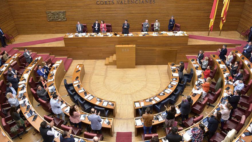 El pleno de las Corts Valencianes aprueba la declaración institucional contra los presupuestos del Gobierno para 2017.