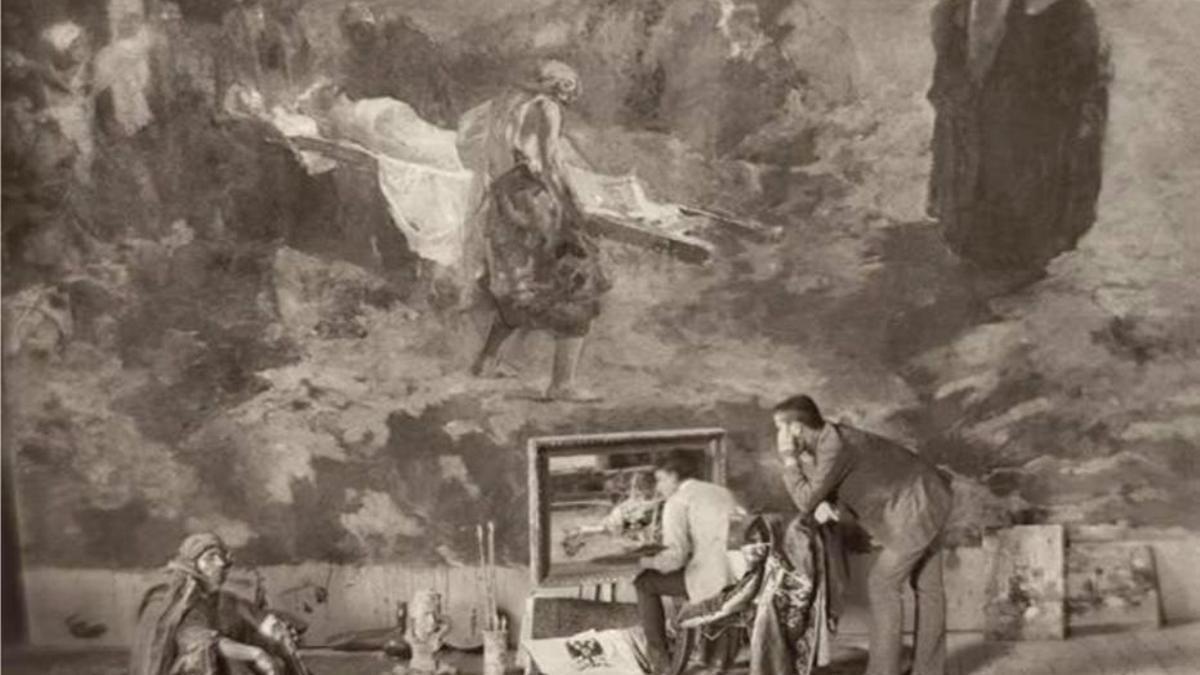 Joaquín Sorolla pintando en Roma, 1886, junto con Pedro Gil y 'El entierro de Cristo' al fondo