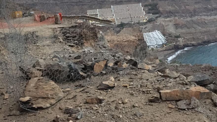 Desprendimiento en la carretera de Taurito a Mogán