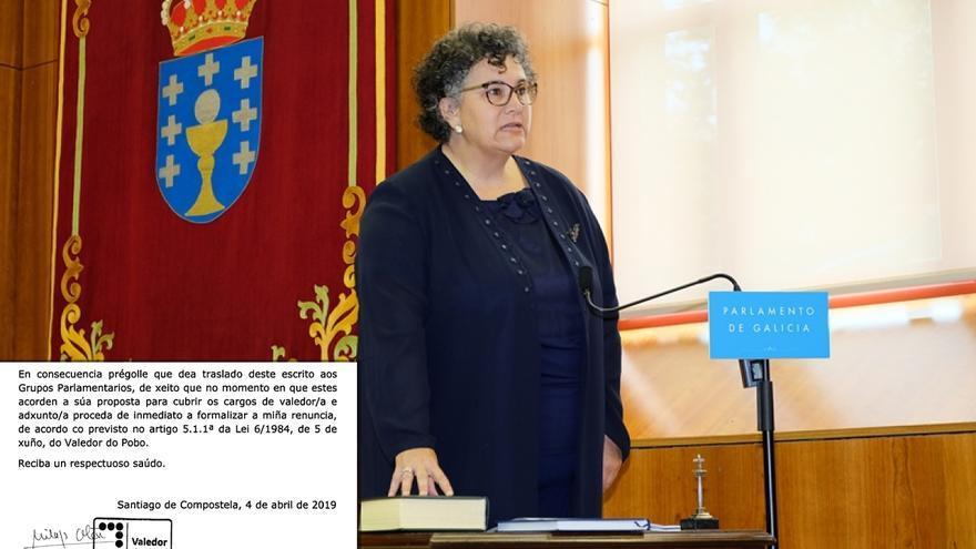 La todavía Valedora do Pobo, Milagros Otero, en su toma de posesión en 2015