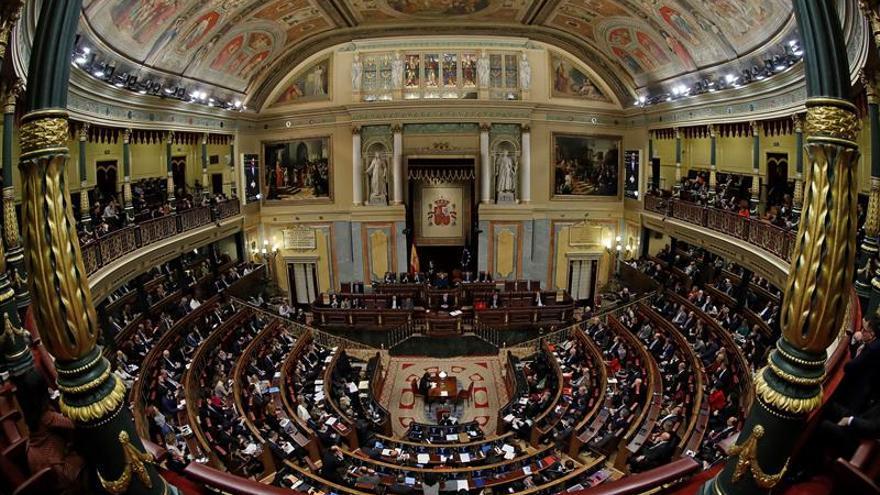 Vista del Congreso durante el debate de investidura de Pedro Sánchez
