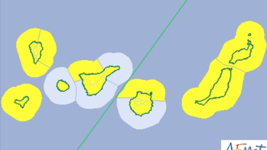Mapa de los avisos meteorológicos para el sábado 11 de febrero
