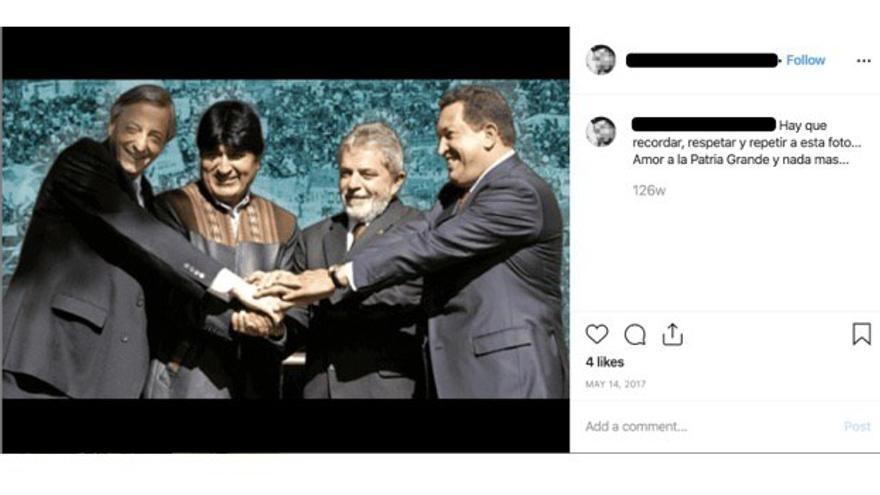 Una de las publicaciones que Facebook ofrece como ejemplo de la actividad de la red de cuentas falsas que actuaba en Sudamérica.