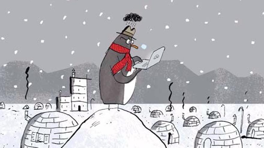 En 'Papá está conectado', un pingüino observa cómo su padre pasa todo el día enganchado a la tecnología (Imagen: Philippe de Kemmeter | Editorial SM)