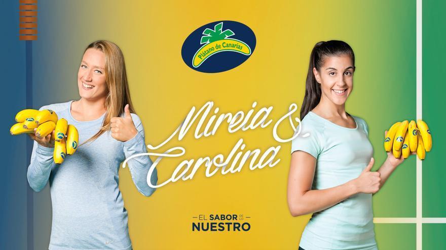 Mireia Belmonte y Carolina Marín, en una imagen promocional de la marca Plátano de Canarias