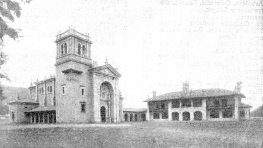 Vista de la iglesia parroquial de San Vicente y el asilo de Los Corrales, obras encargadas por la condesa de Las Forjas y donadas al pueblo. | La Lectura Dominical