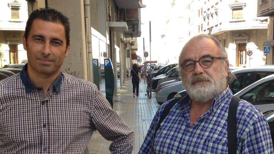 Los integrantes de Podemos Navarra, Joan Josep Bosch e Isaac Hoyos.