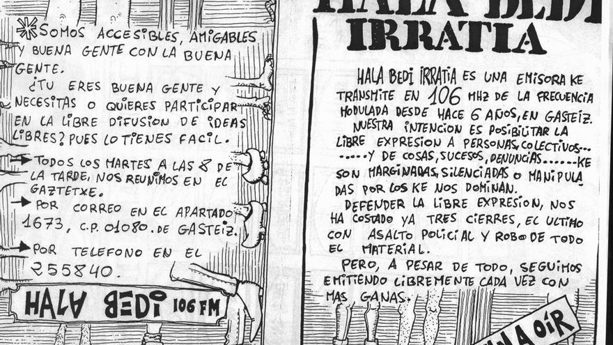 Panfleto de Hala Bedi Irratia en 1989