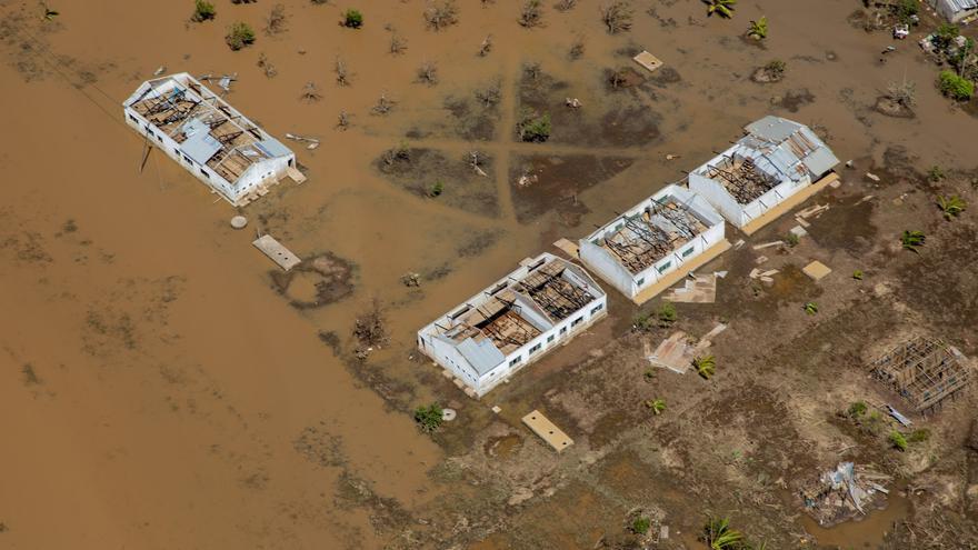 Vista aérea de Buzi y la devastación causada por el ciclón Idai.