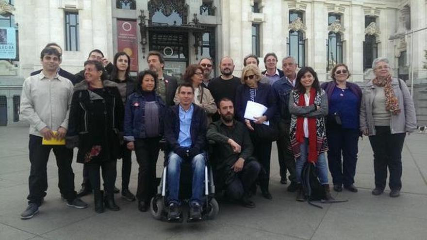 Presentación de la candidatura de Ahora Madrid frente al Ayuntamiento, en la plaza de Cibeles. / Ahora Madrid